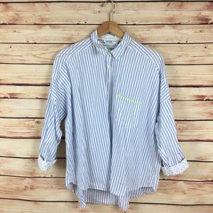 Zara Basic Striped Button Up Shirt White Blue Lrg